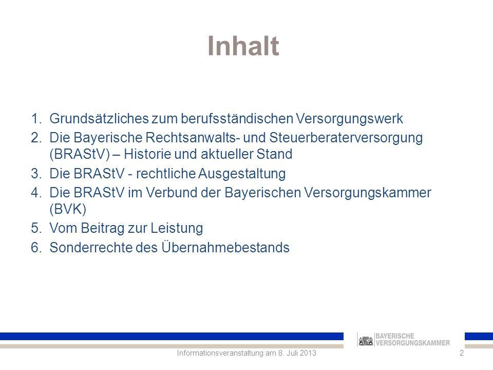 1.Grundsätzliches zum berufsständischen Versorgungswerk 3Informationsveranstaltung am 8.
