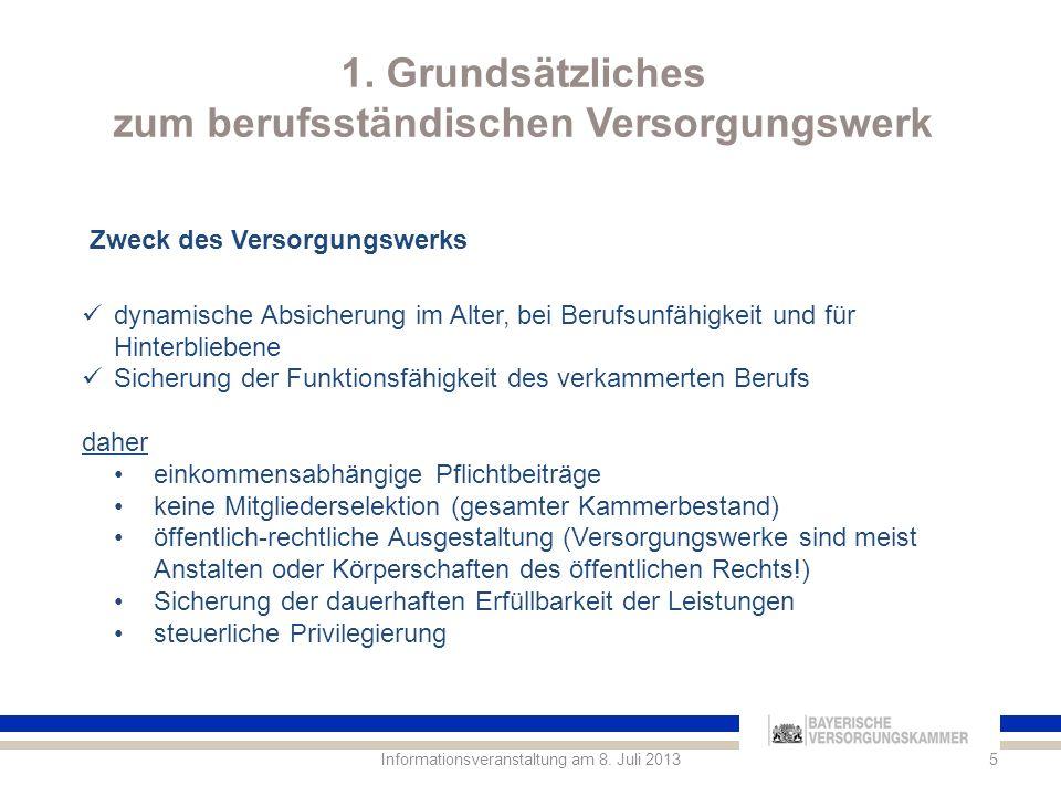 1.Grundsätzliches zum berufsständischen Versorgungswerk.