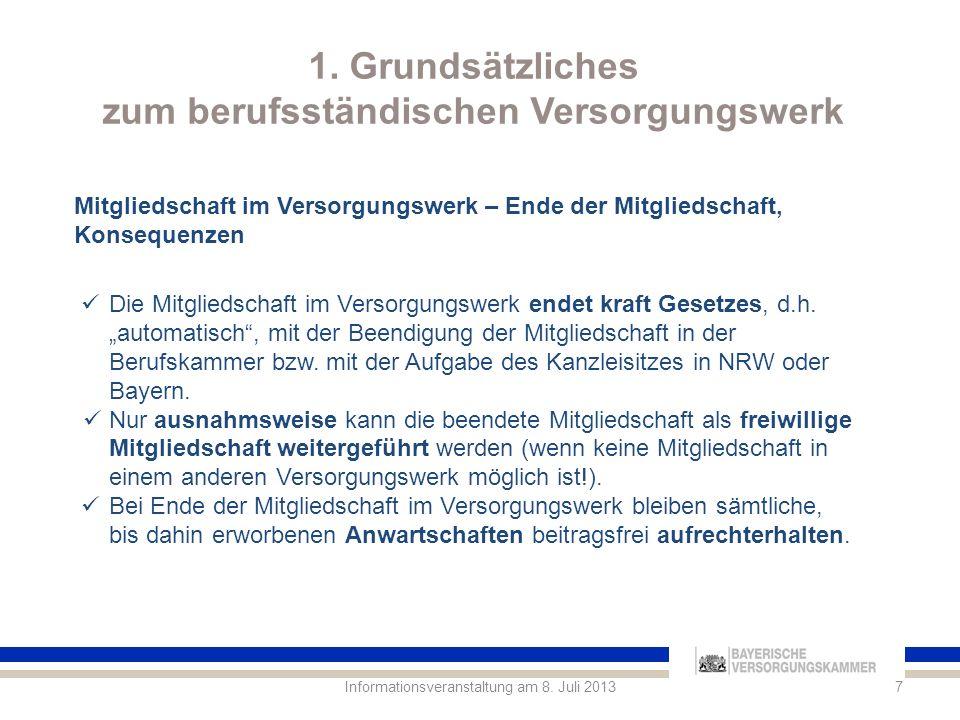 1.Grundsätzliches zum berufsständischen Versorgungswerk 8Informationsveranstaltung am 8.