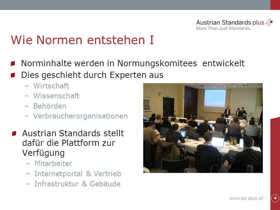 www.as-plus.at Norminhalte werden in Normungskomitees entwickelt Dies geschieht durch Experten aus –Wirtschaft –Wissenschaft –Behörden –Verbraucherorg