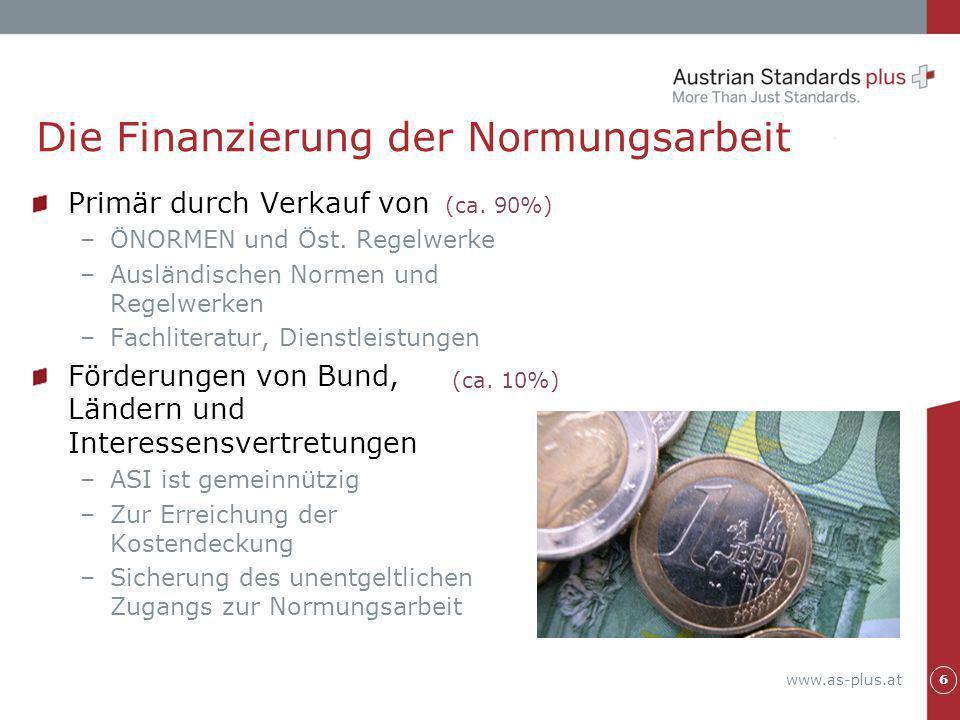 www.as-plus.at Primär durch Verkauf von –ÖNORMEN und Öst. Regelwerke –Ausländischen Normen und Regelwerken –Fachliteratur, Dienstleistungen Förderunge