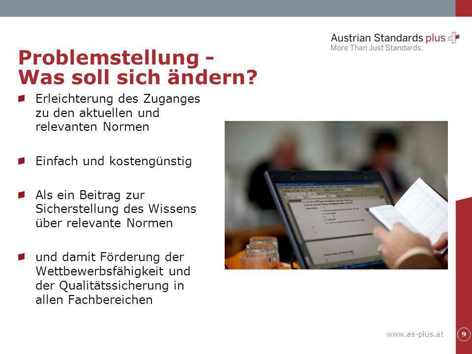 www.as-plus.at Problemstellung - Was soll sich ändern? Erleichterung des Zuganges zu den aktuellen und relevanten Normen Einfach und kostengünstig Als