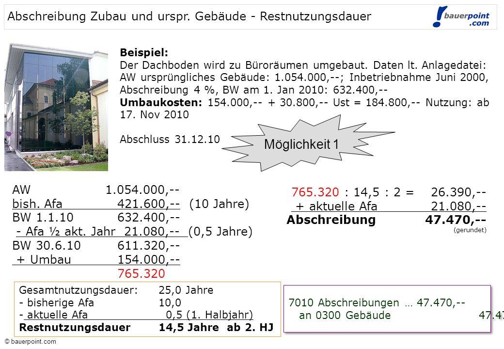 © bauerpoint.com © bauerpoint.com Beispiel: Der Dachboden wird zu Büroräumen umgebaut. Daten lt. Anlagedatei: AW ursprüngliches Gebäude: 1.054.000,--;
