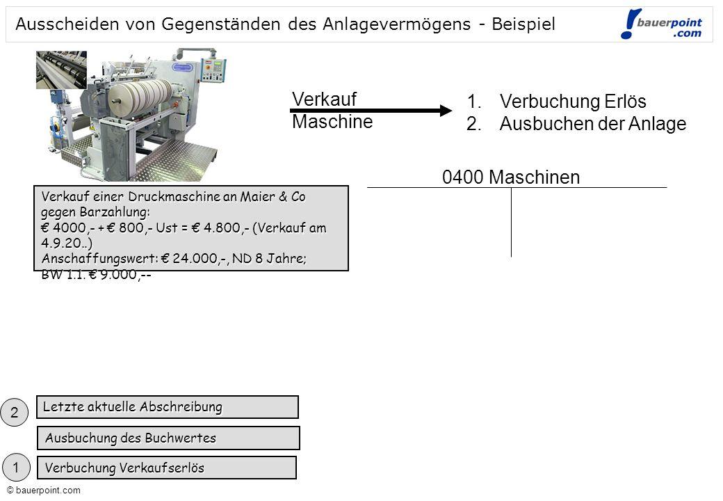 © bauerpoint.com © bauerpoint.com Ausscheiden von Gegenständen des Anlagevermögens - Beispiel Verkauf einer Druckmaschine an Maier & Co gegen Barzahlu