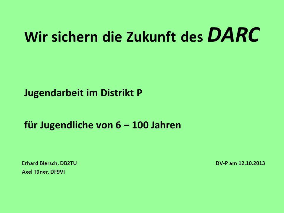 Wir sichern die Zukunft des DARC Jugendarbeit im Distrikt P für Jugendliche von 6 – 100 Jahren Erhard Blersch, DB2TU DV-P am 12.10.2013 Axel Tüner, DF
