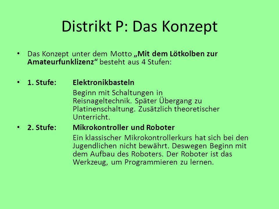 Distrikt P: Das Konzept Das Konzept unter dem Motto Mit dem Lötkolben zur Amateurfunklizenz besteht aus 4 Stufen: 1. Stufe:Elektronikbasteln Beginn mi