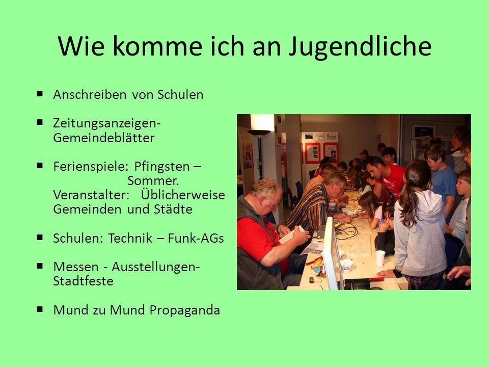 Wie komme ich an Jugendliche Anschreiben von Schulen Zeitungsanzeigen- Gemeindeblätter Ferienspiele: Pfingsten – Sommer.