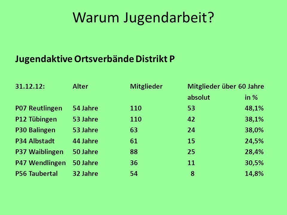 Warum Jugendarbeit? Jugendaktive Ortsverbände Distrikt P 31.12.12:AlterMitgliederMitglieder über 60 Jahre absolutin % P07 Reutlingen54 Jahre1105348,1%