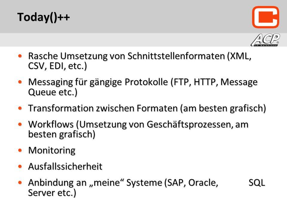 Today()++ Rasche Umsetzung von Schnittstellenformaten (XML, CSV, EDI, etc.)Rasche Umsetzung von Schnittstellenformaten (XML, CSV, EDI, etc.) Messaging für gängige Protokolle (FTP, HTTP, Message Queue etc.)Messaging für gängige Protokolle (FTP, HTTP, Message Queue etc.) Transformation zwischen Formaten (am besten grafisch)Transformation zwischen Formaten (am besten grafisch) Workflows (Umsetzung von Geschäftsprozessen, am besten grafisch)Workflows (Umsetzung von Geschäftsprozessen, am besten grafisch) MonitoringMonitoring AusfallssicherheitAusfallssicherheit Anbindung an meine Systeme (SAP, Oracle, SQL Server etc.)Anbindung an meine Systeme (SAP, Oracle, SQL Server etc.)