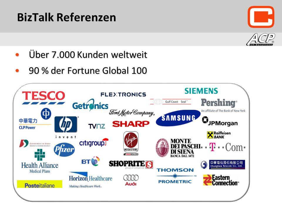 BizTalk Referenzen Über 7.000 Kunden weltweitÜber 7.000 Kunden weltweit 90 % der Fortune Global 10090 % der Fortune Global 100