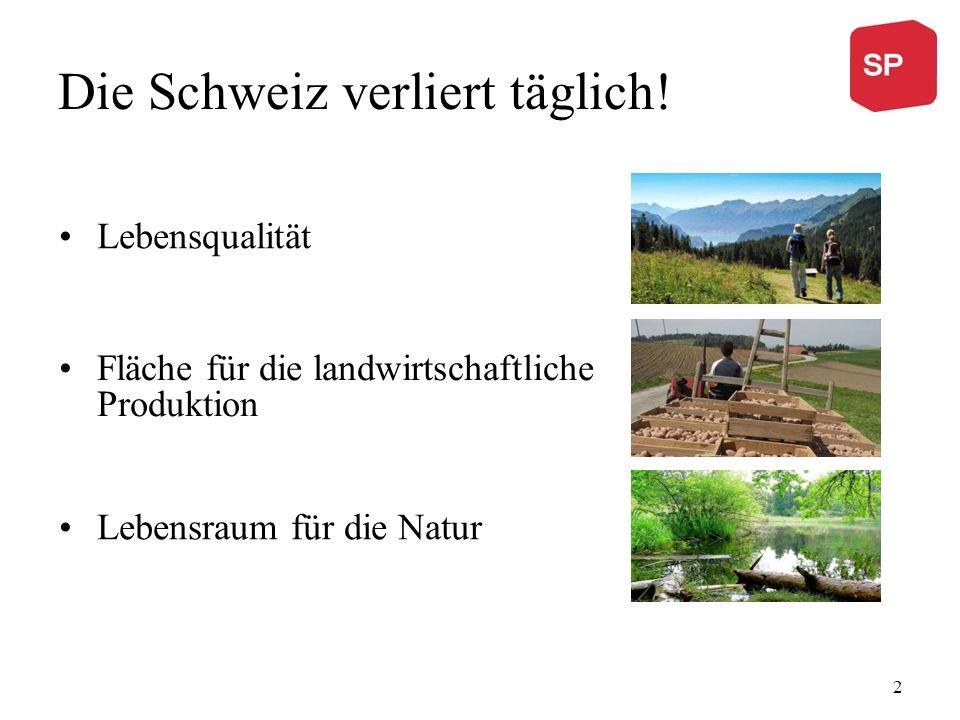 Die Schweiz verliert täglich! Lebensqualität Fläche für die landwirtschaftliche Produktion Lebensraum für die Natur 2