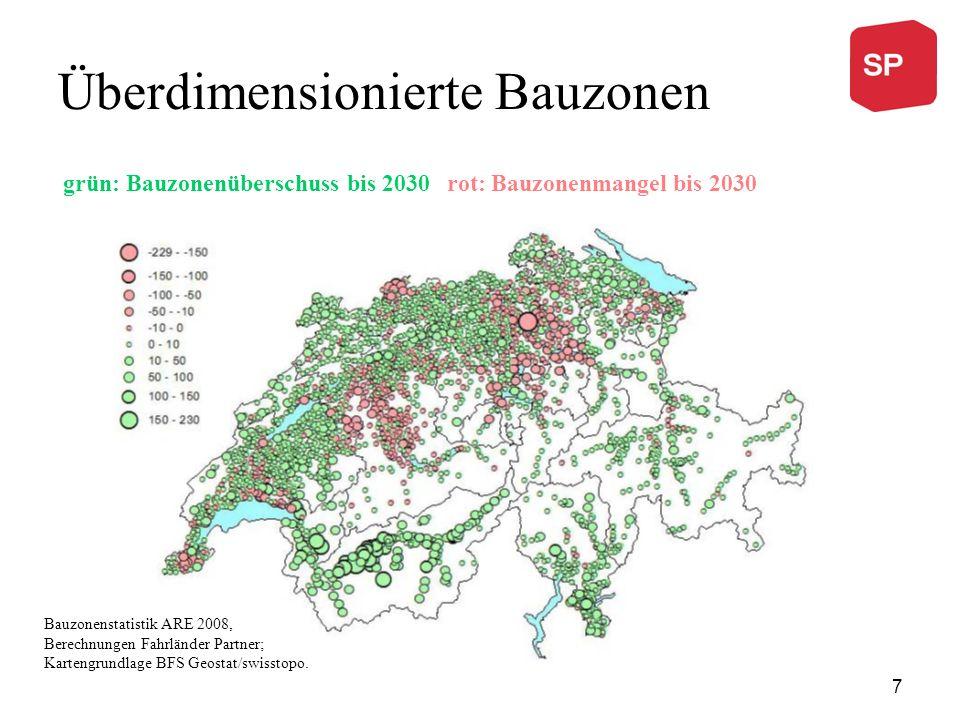Überdimensionierte Bauzonen grün: Bauzonenüberschuss bis 2030 rot: Bauzonenmangel bis 2030 Bauzonenstatistik ARE 2008, Berechnungen Fahrländer Partner; Kartengrundlage BFS Geostat/swisstopo.