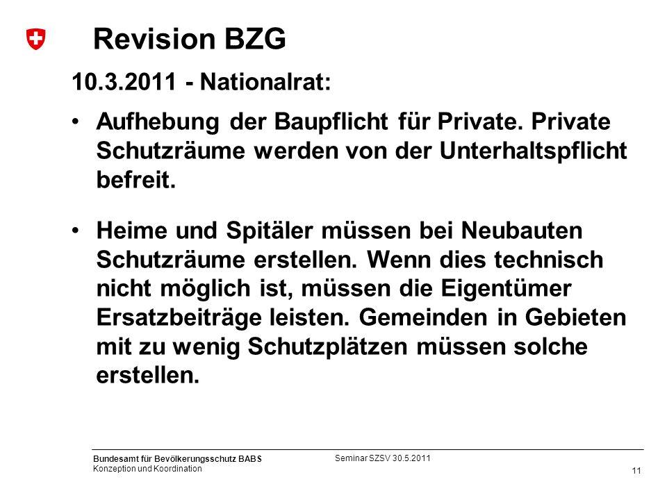 11 Bundesamt für Bevölkerungsschutz BABS Konzeption und Koordination Revision BZG 10.3.2011 - Nationalrat: Aufhebung der Baupflicht für Private. Priva
