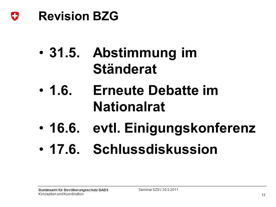 13 Bundesamt für Bevölkerungsschutz BABS Konzeption und Koordination Revision BZG 31.5.Abstimmung im Ständerat 1.6. Erneute Debatte im Nationalrat 16.