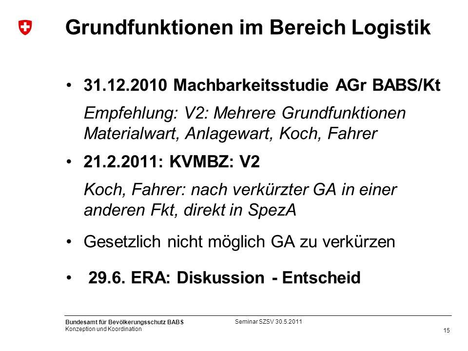 15 Bundesamt für Bevölkerungsschutz BABS Konzeption und Koordination Grundfunktionen im Bereich Logistik 31.12.2010 Machbarkeitsstudie AGr BABS/Kt Emp