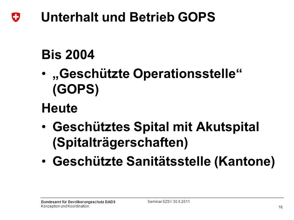 16 Bundesamt für Bevölkerungsschutz BABS Konzeption und Koordination Unterhalt und Betrieb GOPS Bis 2004 Geschützte Operationsstelle (GOPS) Heute Gesc