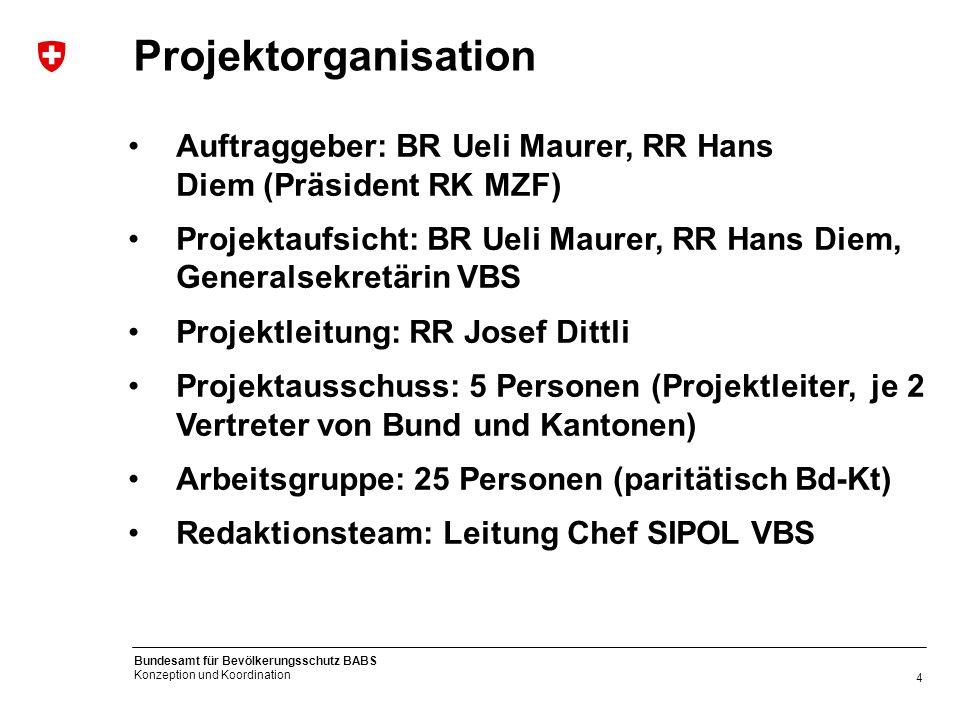 4 Bundesamt für Bevölkerungsschutz BABS Konzeption und Koordination Projektorganisation Auftraggeber: BR Ueli Maurer, RR Hans Diem (Präsident RK MZF)