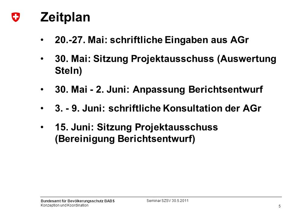 5 Bundesamt für Bevölkerungsschutz BABS Konzeption und Koordination Zeitplan 20.-27. Mai: schriftliche Eingaben aus AGr 30. Mai: Sitzung Projektaussch