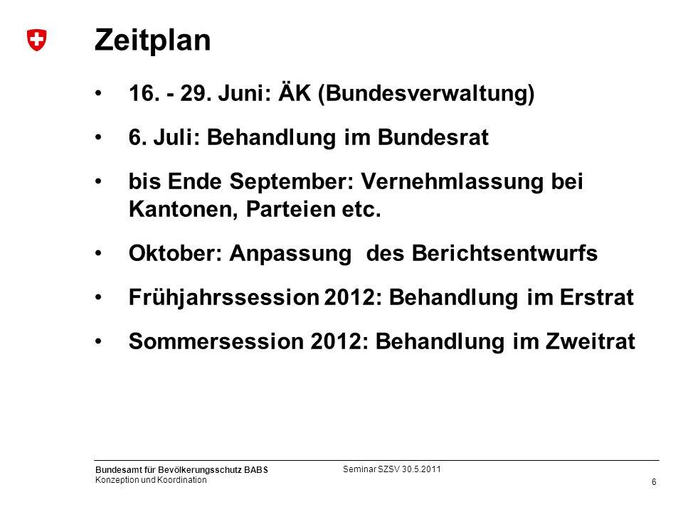 6 Bundesamt für Bevölkerungsschutz BABS Konzeption und Koordination Zeitplan 16. - 29. Juni: ÄK (Bundesverwaltung) 6. Juli: Behandlung im Bundesrat bi