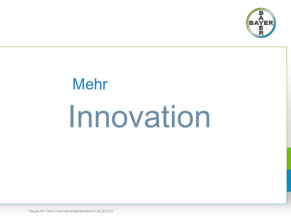 Bayer AG SdK Unternehmenspräsentation 29.08.2012 Mehr Innovation