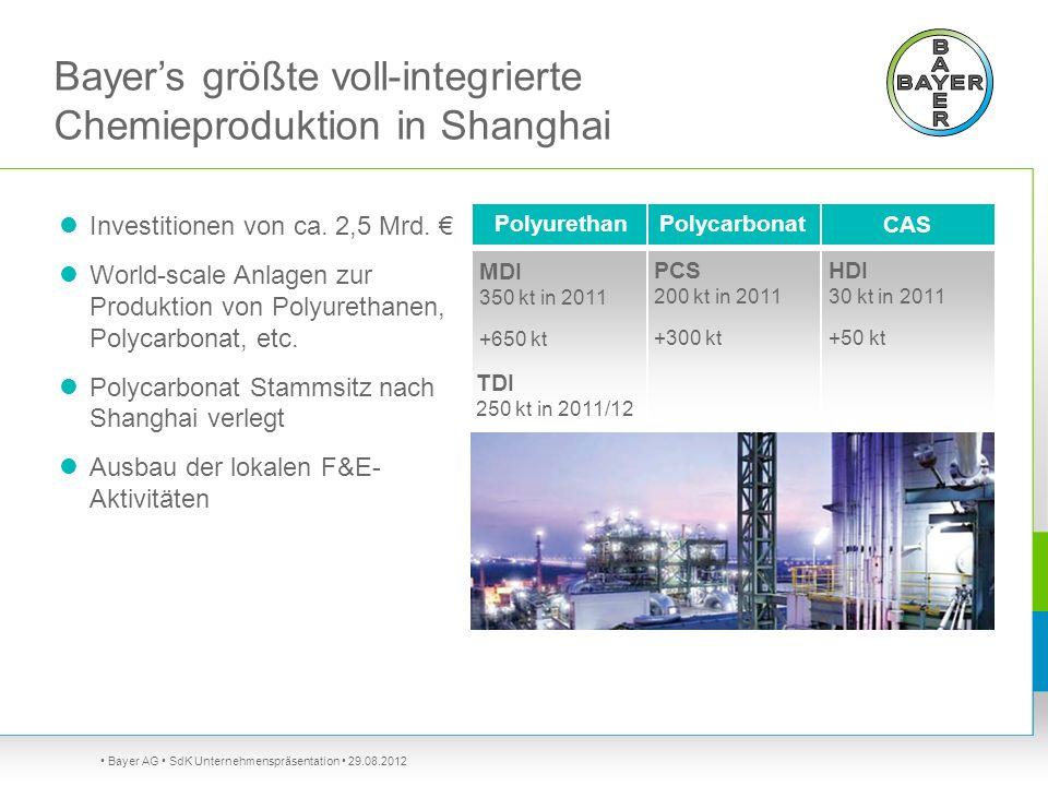 Bayer AG SdK Unternehmenspräsentation 29.08.2012 Bayers größte voll-integrierte Chemieproduktion in Shanghai Investitionen von ca. 2,5 Mrd. World-scal