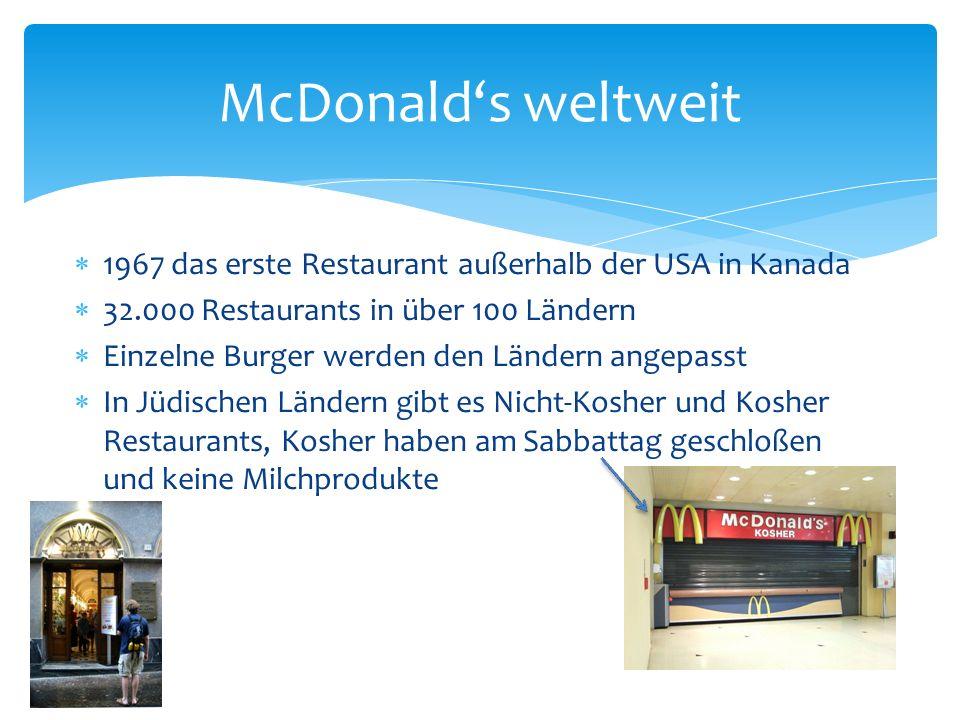 Hauptsächlich werden Burger verkauft, aber auch Pommes, Salat, Desserts und Getränke Meistverkaufte Produkt ist der Cheeseburger (1.300 kJ) Markenzeichen ist der BigMac (2.100 kJ) Häufig wechselnde Sonderaktionen wie Bau deinen Burger oder Gutscheinaktionen Produktangebot