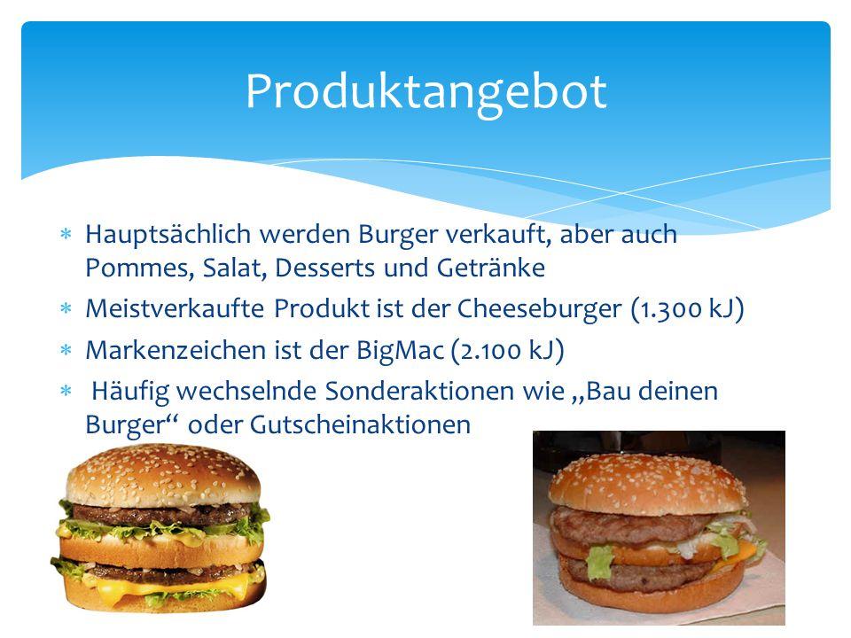 Hauptsächlich werden Burger verkauft, aber auch Pommes, Salat, Desserts und Getränke Meistverkaufte Produkt ist der Cheeseburger (1.300 kJ) Markenzeic