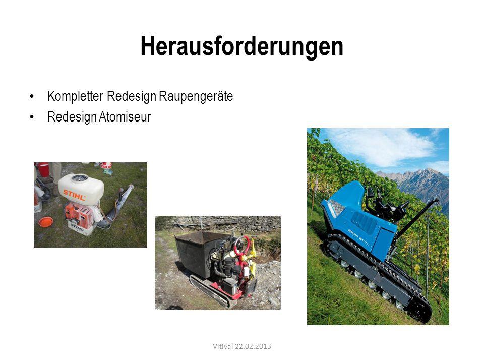 Herausforderungen Kompletter Redesign Raupengeräte Redesign Atomiseur Vitival 22.02.2013