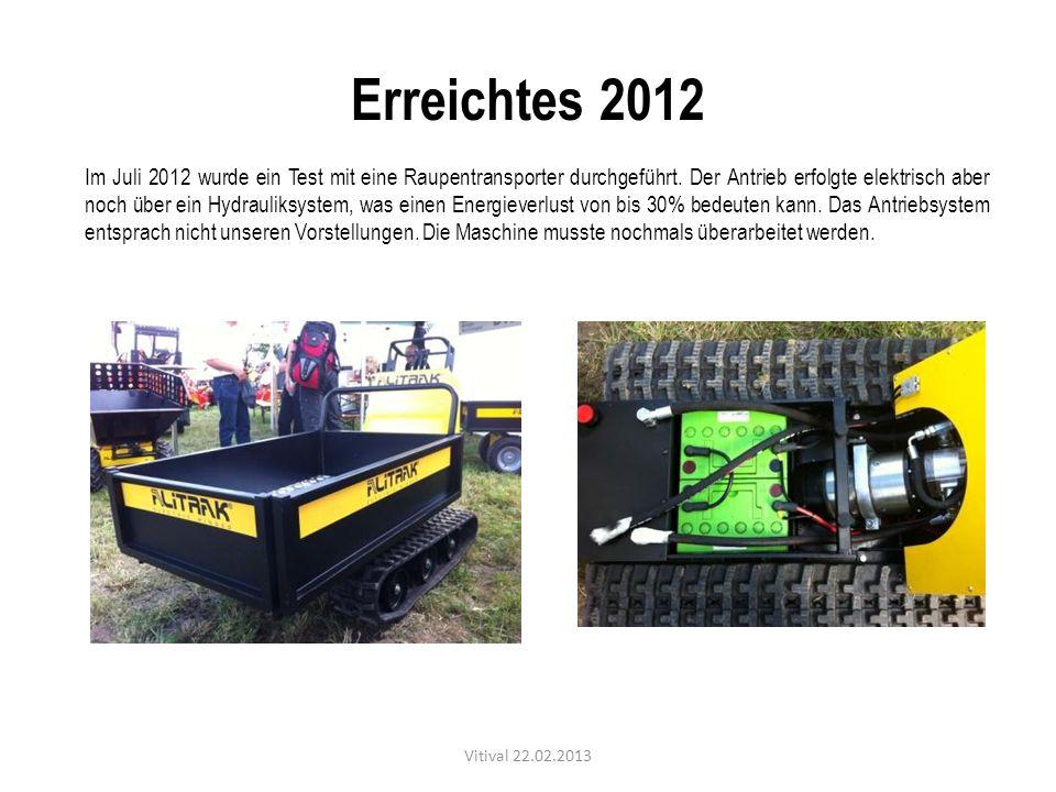 Erreichtes 2012 Im Juli 2012 wurde ein Test mit eine Raupentransporter durchgeführt. Der Antrieb erfolgte elektrisch aber noch über ein Hydrauliksyste