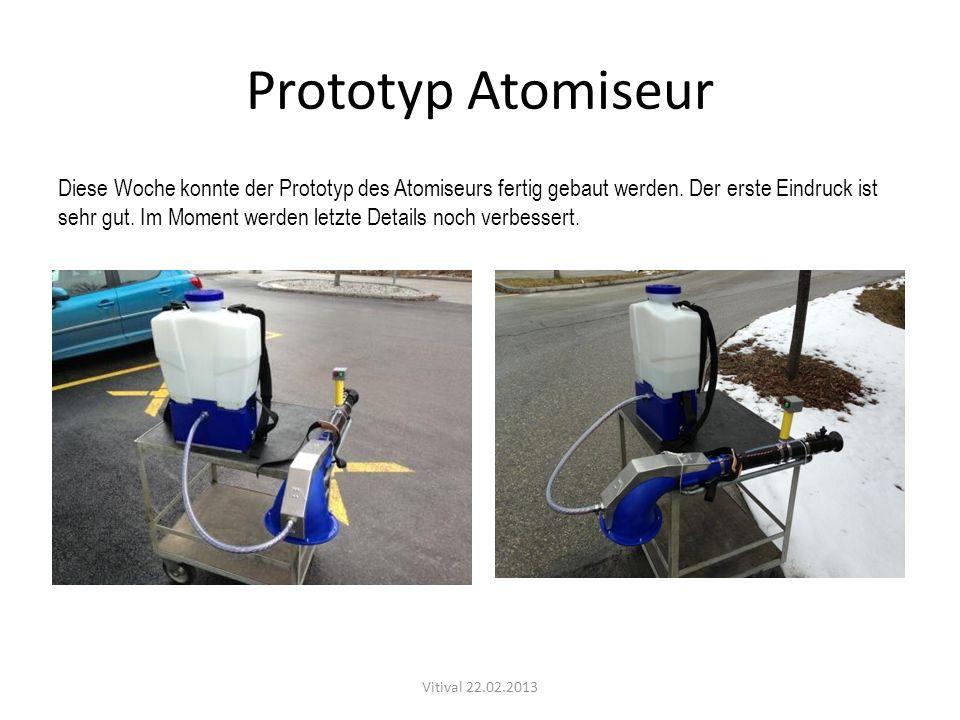 Prototyp Atomiseur Diese Woche konnte der Prototyp des Atomiseurs fertig gebaut werden. Der erste Eindruck ist sehr gut. Im Moment werden letzte Detai
