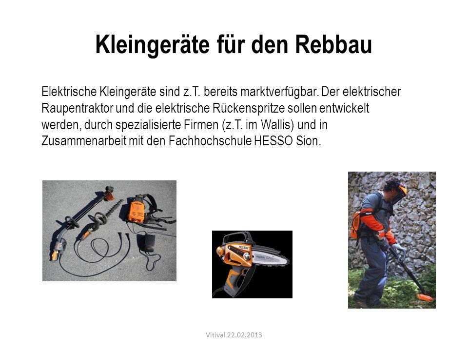 Kleingeräte für den Rebbau Elektrische Kleingeräte sind z.T. bereits marktverfügbar. Der elektrischer Raupentraktor und die elektrische Rückenspritze