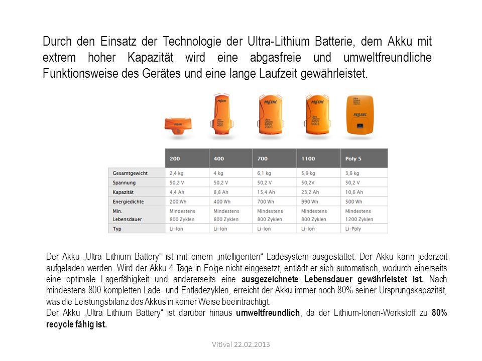 Durch den Einsatz der Technologie der Ultra-Lithium Batterie, dem Akku mit extrem hoher Kapazität wird eine abgasfreie und umweltfreundliche Funktions