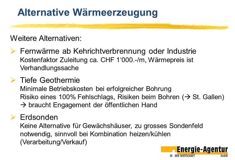 Alternative Wärmeerzeugung Weitere Alternativen: Fernwärme ab Kehrichtverbrennung oder Industrie Kostenfaktor Zuleitung ca. CHF 1000.-/m, Wärmepreis i