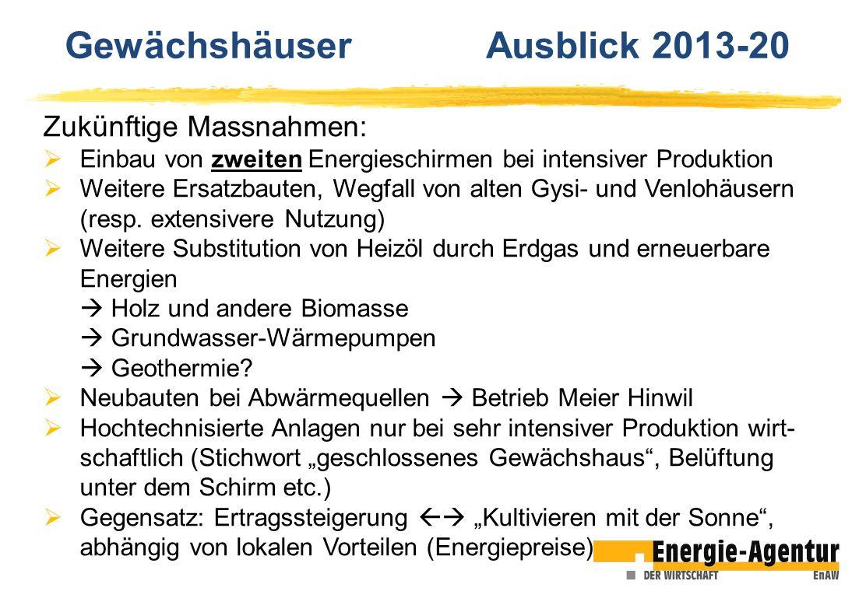 Zukünftige Massnahmen: Einbau von zweiten Energieschirmen bei intensiver Produktion Weitere Ersatzbauten, Wegfall von alten Gysi- und Venlohäusern (re