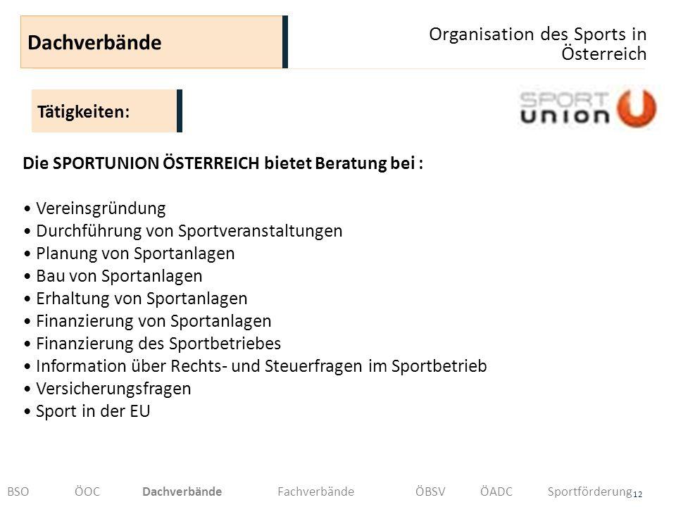 Organisation des Sports in Österreich 12 Dachverbände BSOÖOCDachverbändeFachverbände ÖBSVÖADCSportförderung Die SPORTUNION ÖSTERREICH bietet Beratung
