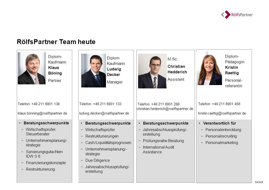 Kurzprofil RölfsPartner Wir sind der führende Anbieter interdisziplinärer Beratungsleistungen in Deutschland Wirtschaftsprüfung Steuerberatung Rechtsberatung Unternehmensberatung Gegründet 1979 in Düsseldorf 700 Mitarbeiter an zwölf Standorten 100 Mio.