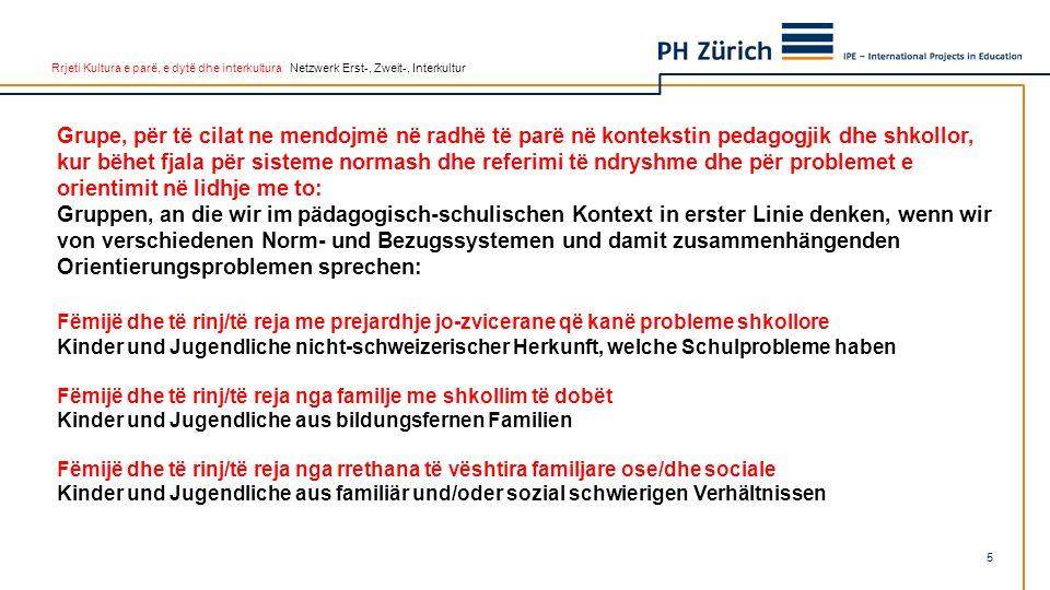 Rrjeti Kultura e parë, e dytë dhe interkultura Netzwerk Erst-, Zweit-, Interkultur Shembulli 1 Beispiel 1 Nusja e re e ardhur në Zvicër është diku rreth moshës 18-20 vjeç.