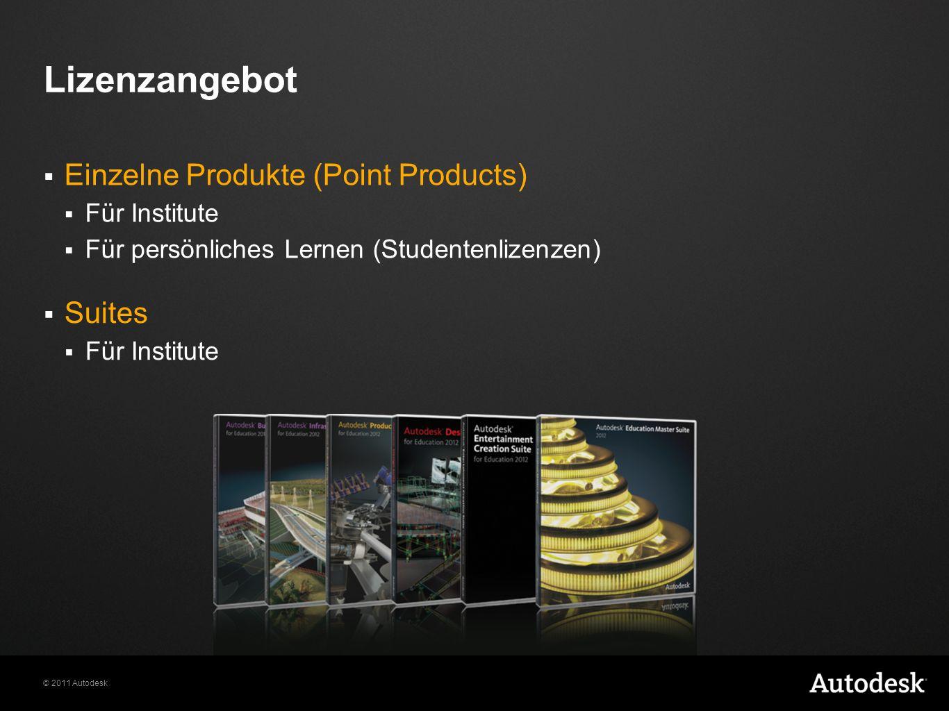 © 2011 Autodesk Lizenzangebot Einzelne Produkte (Point Products) Für Institute Für persönliches Lernen (Studentenlizenzen) Suites Für Institute