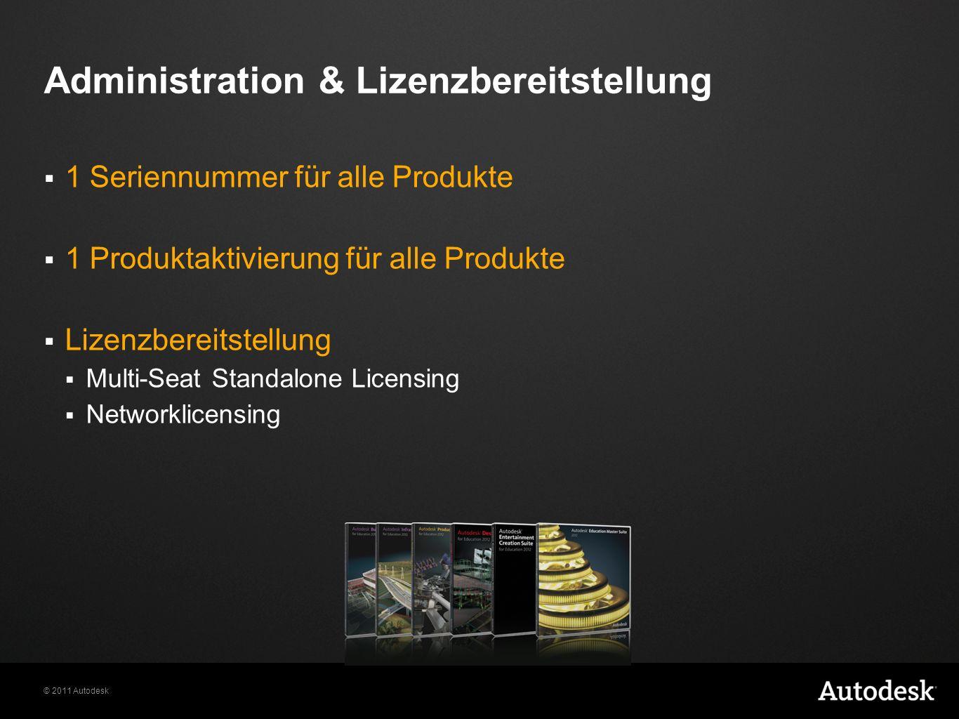 © 2011 Autodesk Administration & Lizenzbereitstellung 1 Seriennummer für alle Produkte 1 Produktaktivierung für alle Produkte Lizenzbereitstellung Multi-Seat Standalone Licensing Networklicensing