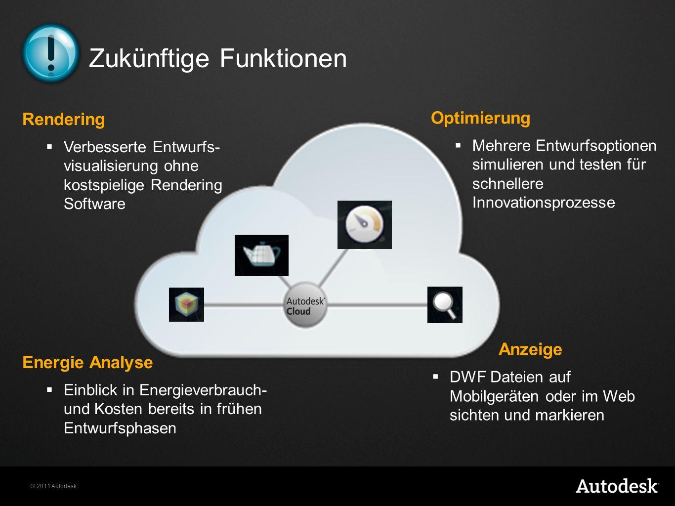 © 2011 Autodesk Zukünftige Funktionen Rendering Verbesserte Entwurfs- visualisierung ohne kostspielige Rendering Software Optimierung Mehrere Entwurfs
