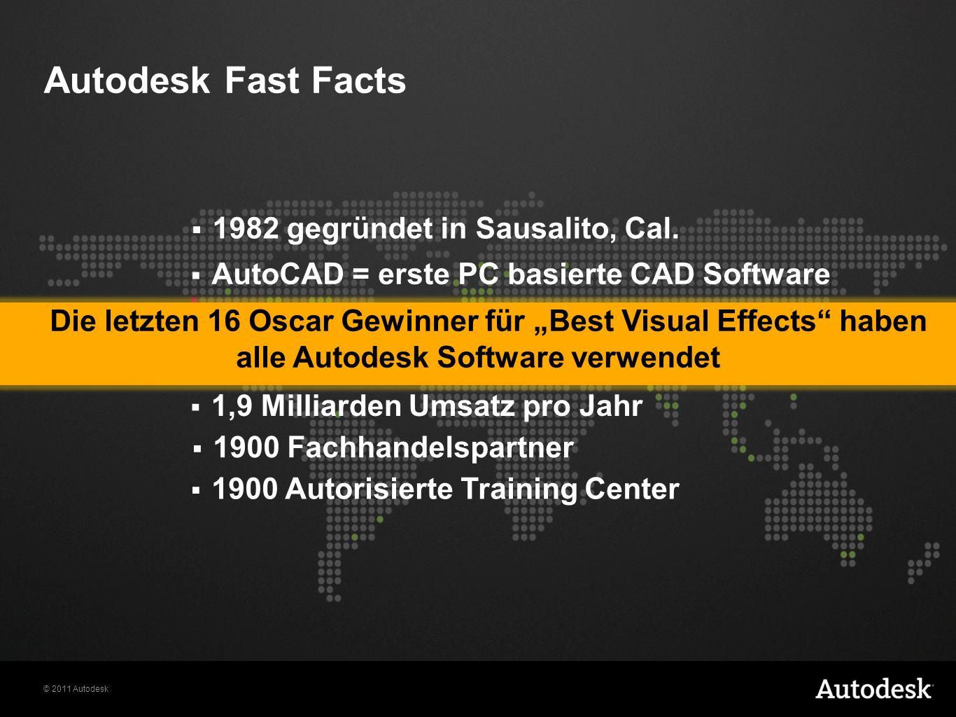 © 2011 Autodesk Autodesk Fast Facts 7000 Mitarbeiter an 95 Standorten weltweit + 9 Millionen kommerzielle Anwender 1,9 Milliarden Umsatz pro Jahr AutoCAD = erste PC basierte CAD Software 1982 gegründet in Sausalito, Cal.