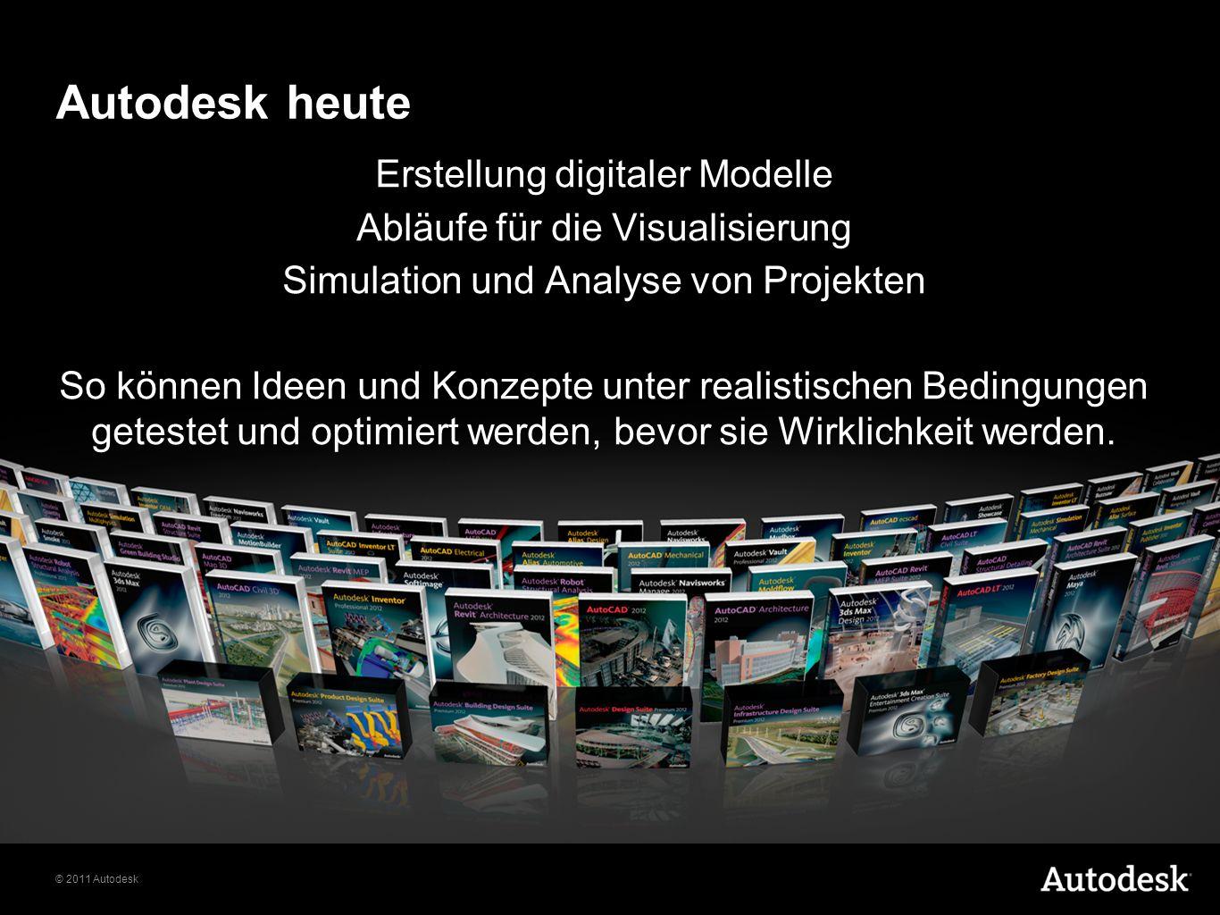 © 2011 Autodesk Autodesk heute Erstellung digitaler Modelle Abläufe für die Visualisierung Simulation und Analyse von Projekten So können Ideen und Konzepte unter realistischen Bedingungen getestet und optimiert werden, bevor sie Wirklichkeit werden.