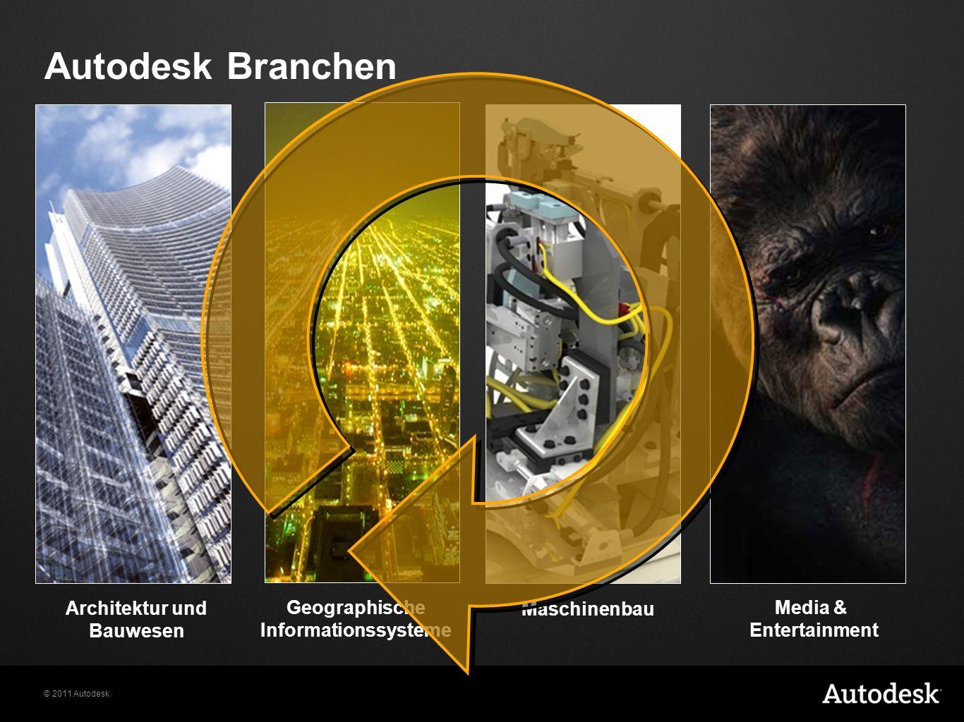 © 2011 Autodesk Maschinenbau Geographische Informationssysteme Architektur und Bauwesen Media & Entertainment Autodesk Branchen