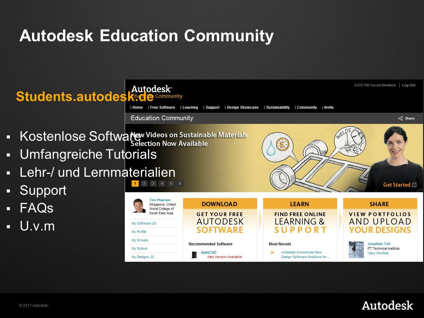 © 2011 Autodesk Autodesk Education Community Kostenlose Software Umfangreiche Tutorials Lehr-/ und Lernmaterialien Support FAQs U.v.m Students.autodes