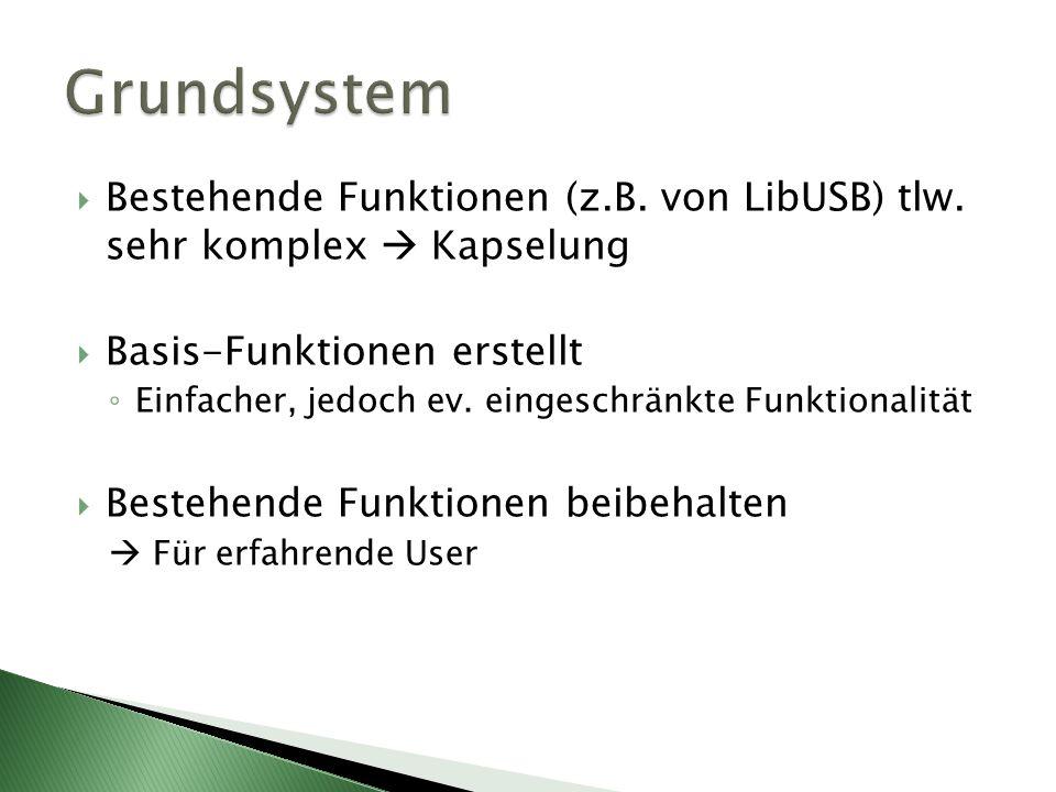 Bestehende Funktionen (z.B. von LibUSB) tlw. sehr komplex Kapselung Basis-Funktionen erstellt Einfacher, jedoch ev. eingeschränkte Funktionalität Best