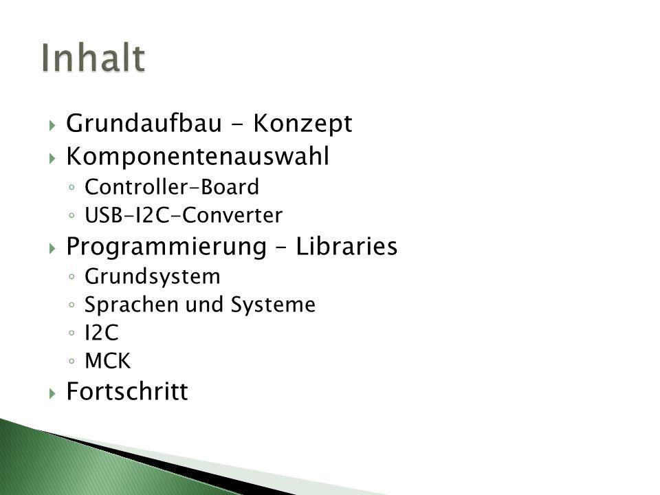 Grundaufbau - Konzept Komponentenauswahl Controller-Board USB-I2C-Converter Programmierung – Libraries Grundsystem Sprachen und Systeme I2C MCK Fortsc