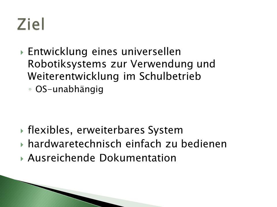Entwicklung eines universellen Robotiksystems zur Verwendung und Weiterentwicklung im Schulbetrieb OS-unabhängig flexibles, erweiterbares System hardw