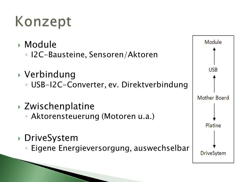 Module I2C-Bausteine, Sensoren/Aktoren Verbindung USB-I2C-Converter, ev. Direktverbindung Zwischenplatine Aktorensteuerung (Motoren u.a.) DriveSystem