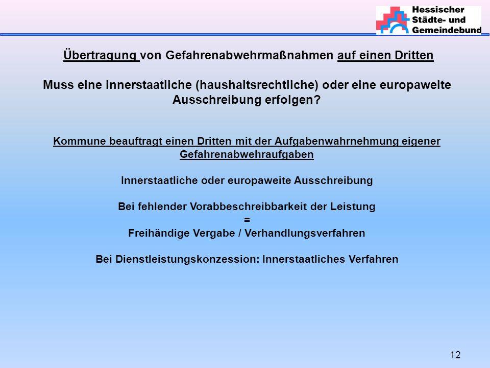12 Übertragung von Gefahrenabwehrmaßnahmen auf einen Dritten Muss eine innerstaatliche (haushaltsrechtliche) oder eine europaweite Ausschreibung erfol