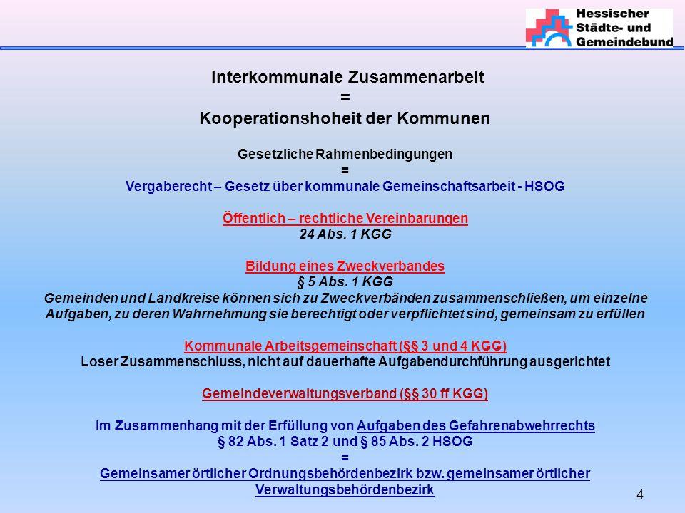 4 Interkommunale Zusammenarbeit = Kooperationshoheit der Kommunen Gesetzliche Rahmenbedingungen = Vergaberecht – Gesetz über kommunale Gemeinschaftsar